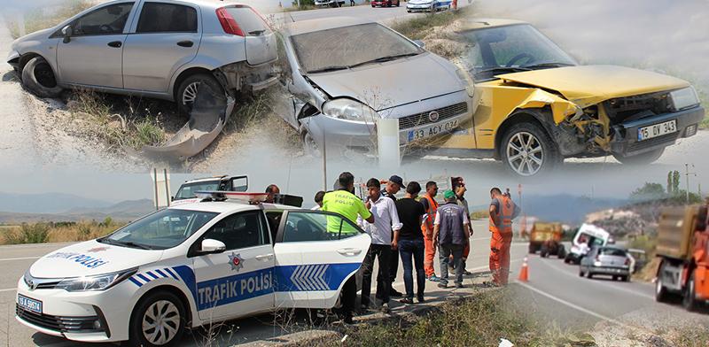 4 aracın trafik kazasına karıştığı kaza ucuz atlatıldı